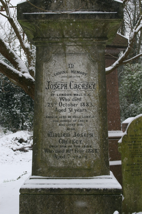 the final resting place of Joseph Creasey and William Joseph Creasey