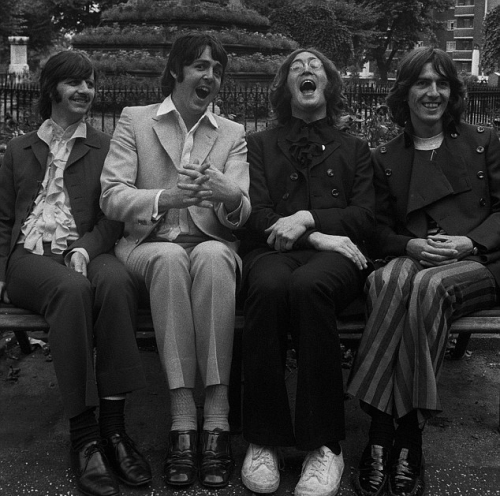 The Beatles, sat in the Old Churchyard